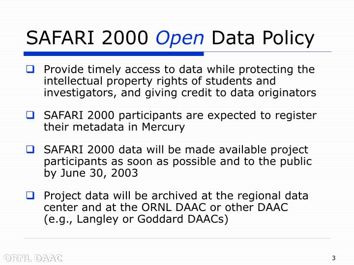 Safari 2000 open data policy