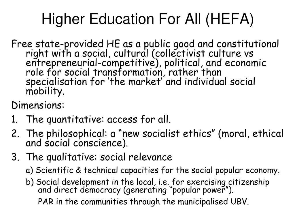 Higher Education For All (HEFA)