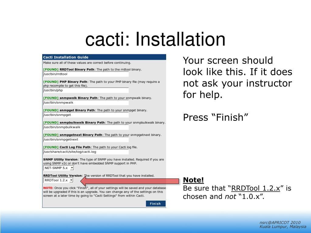 cacti: Installation
