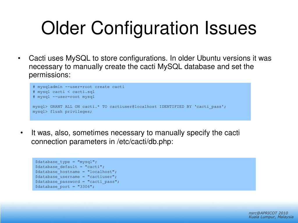 Older Configuration Issues