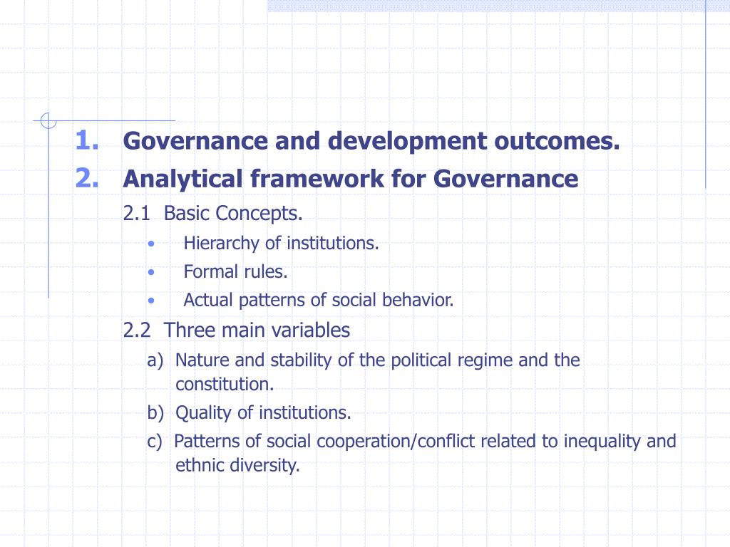 Governance and development outcomes.