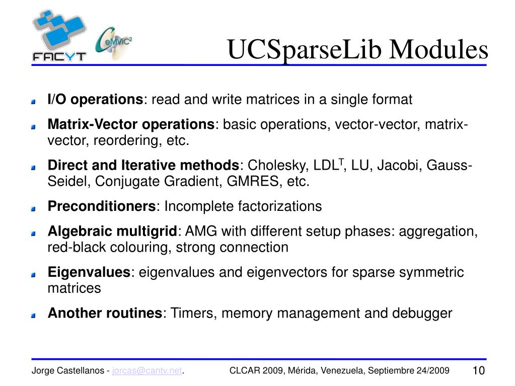 UCSparseLib Modules