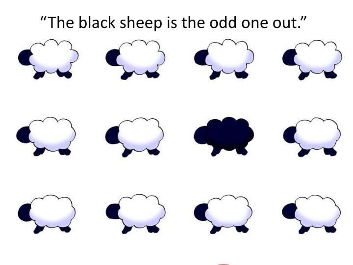 """The black sheep is the odd one out."""
