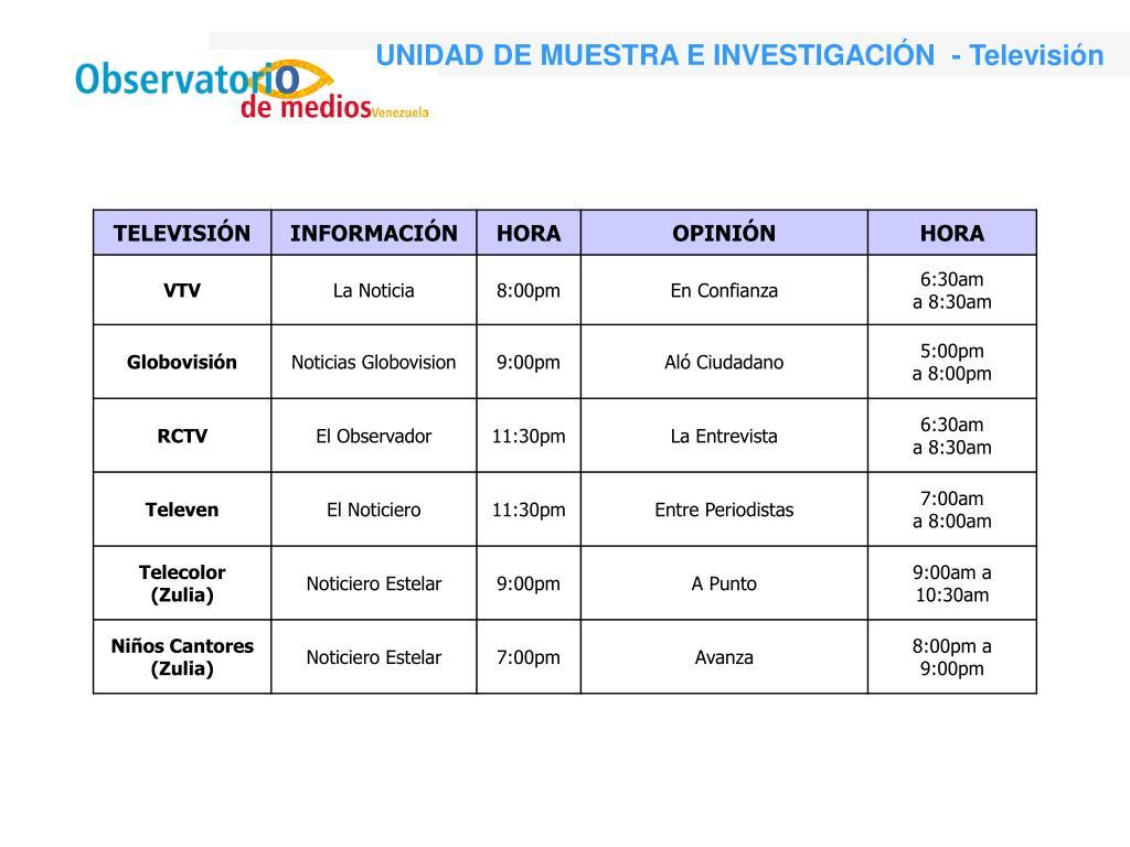 UNIDAD DE MUESTRA E INVESTIGACIÓN  - Televisión