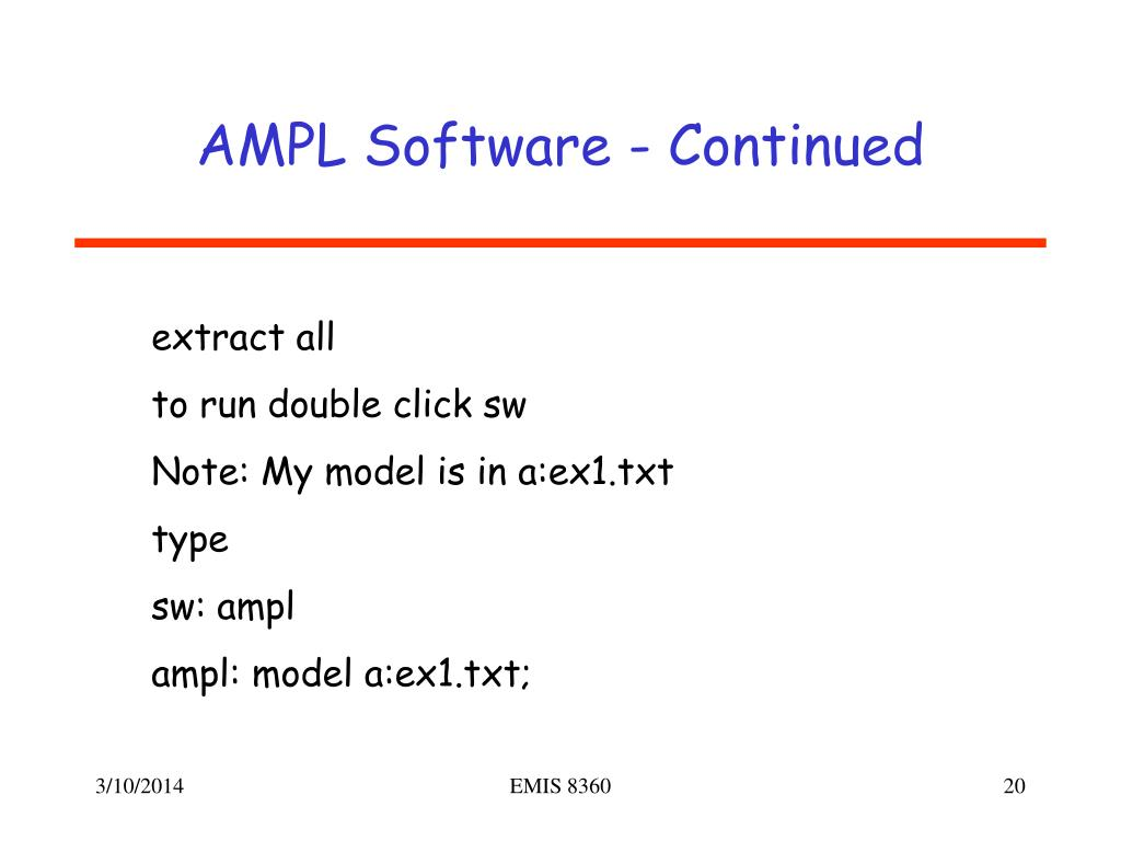 AMPL Software - Continued