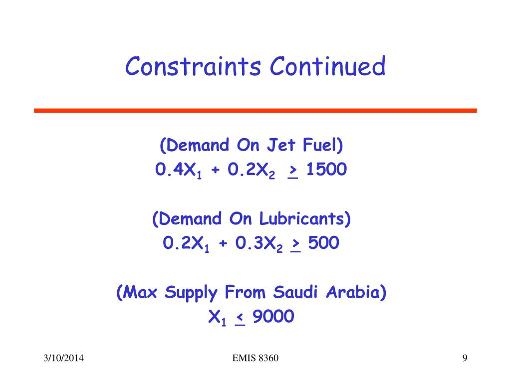 Constraints Continued