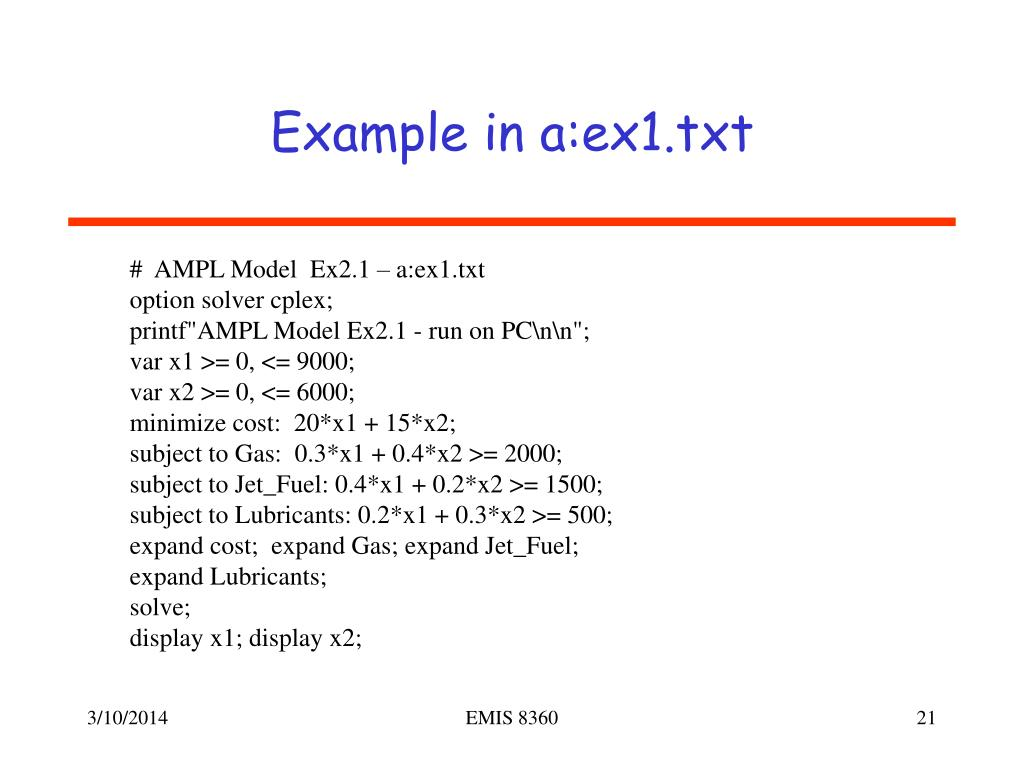 Example in a:ex1.txt