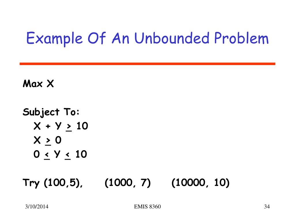Example Of An Unbounded Problem