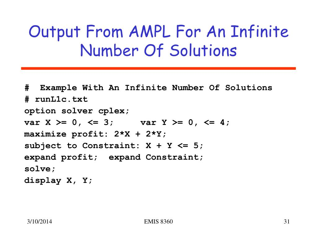 Output From AMPL For An Infinite Number Of Solutions