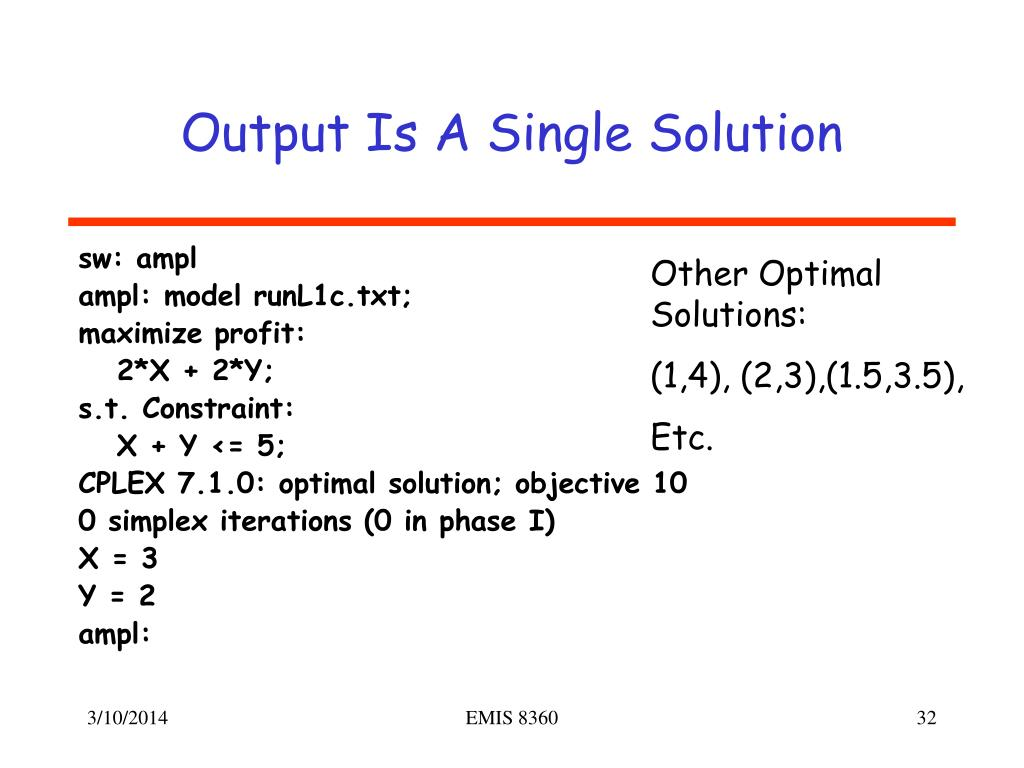 Output Is A Single Solution