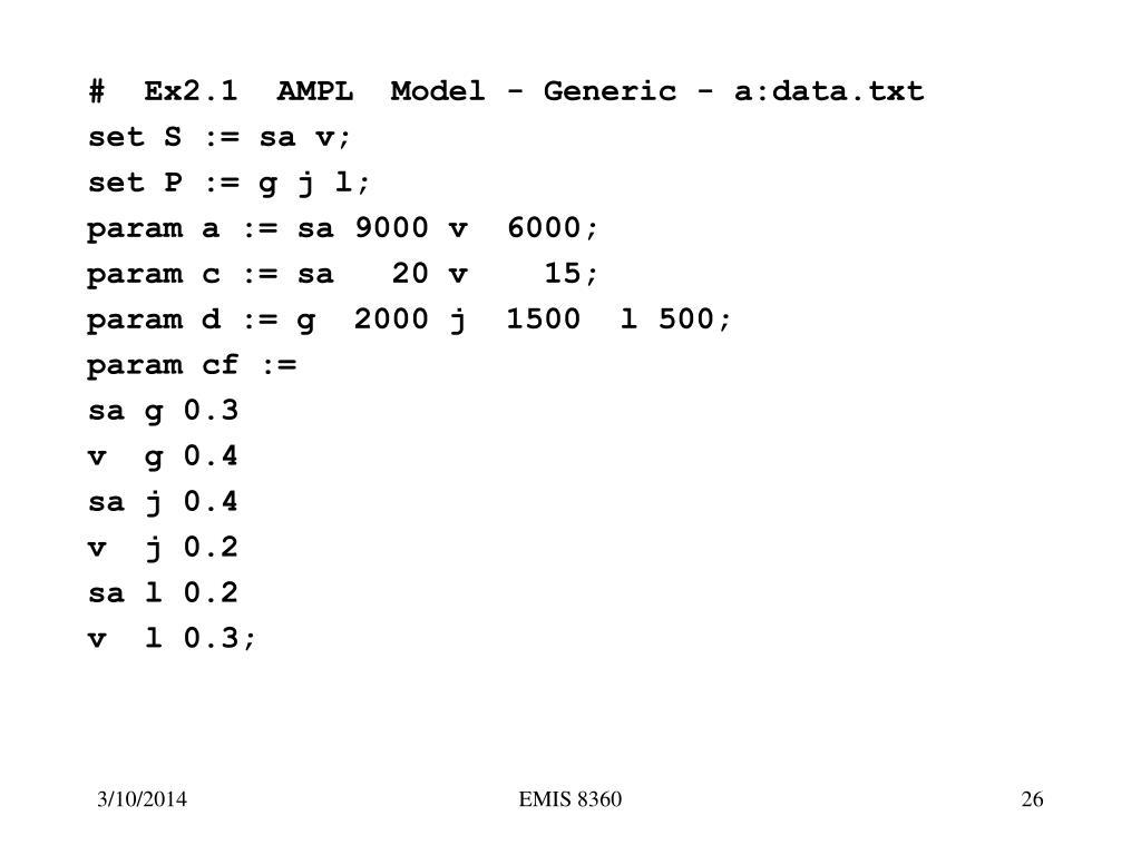 #  Ex2.1  AMPL  Model - Generic - a:data.txt
