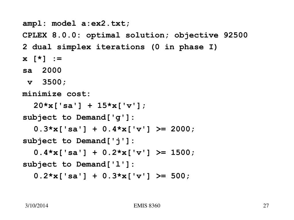 ampl: model a:ex2.txt;