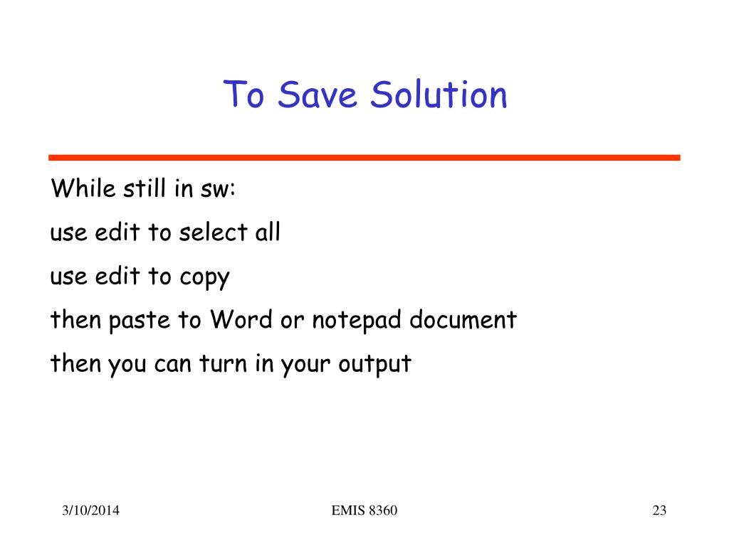 To Save Solution