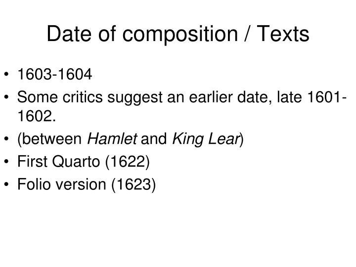 Date of composition texts
