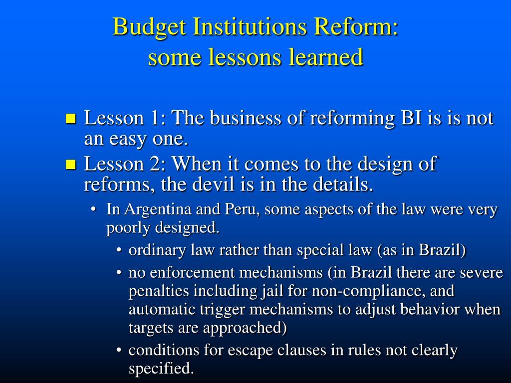 Budget Institutions Reform: