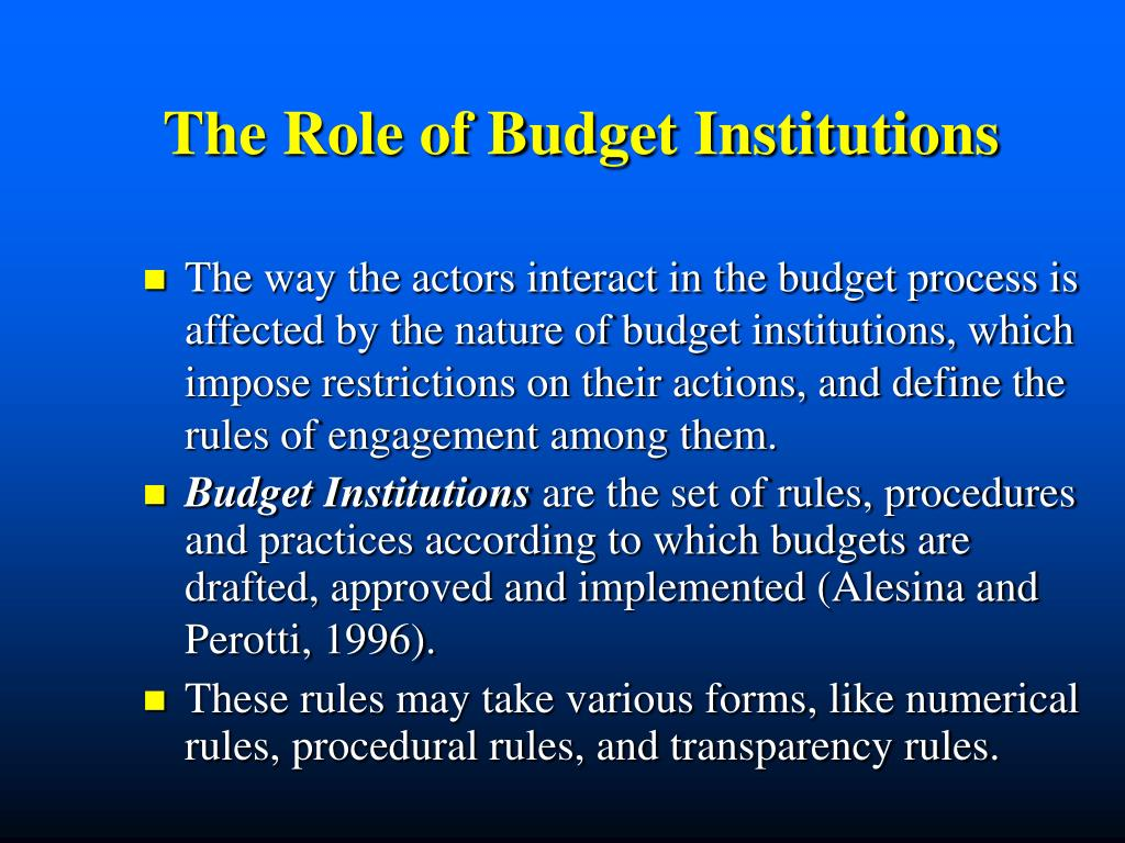 The Role of Budget Institutions