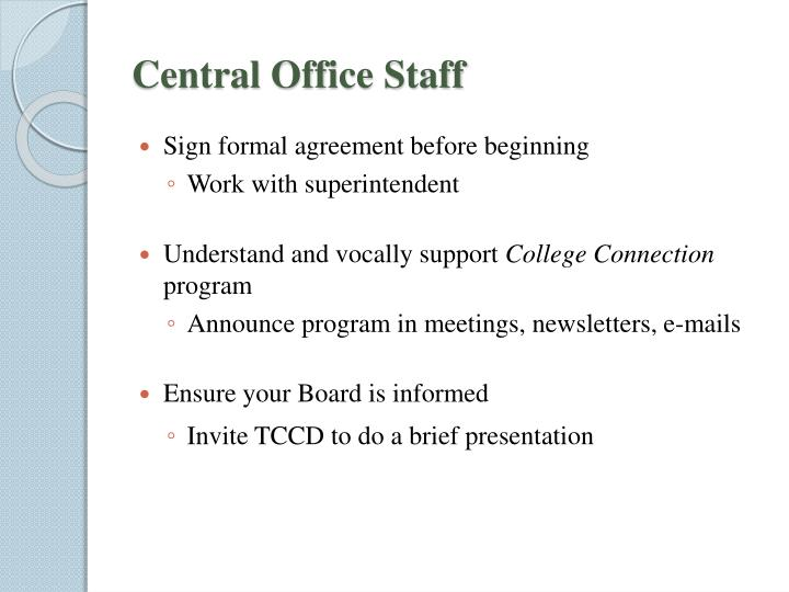 Central Office Staff