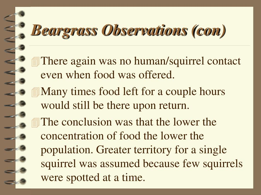 Beargrass Observations (con)