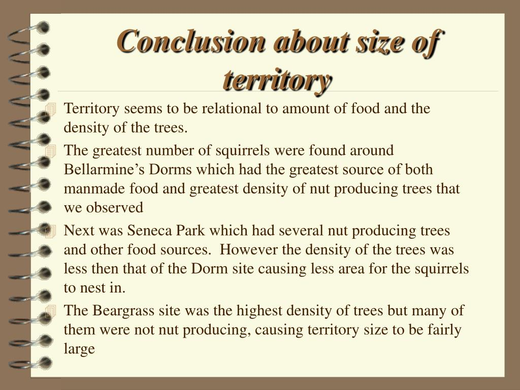 Conclusion about size of territory