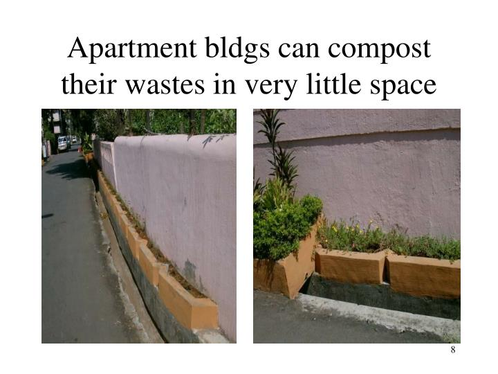 Apartment bldgs can compost their wastes in very little space