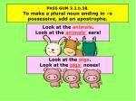 pass gum 3 2 b 38 to make a plural noun ending in s possessive add an apostrophe