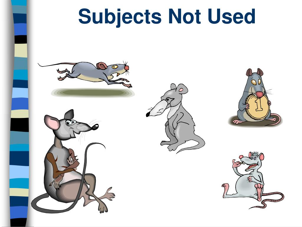 Subjects Not Used