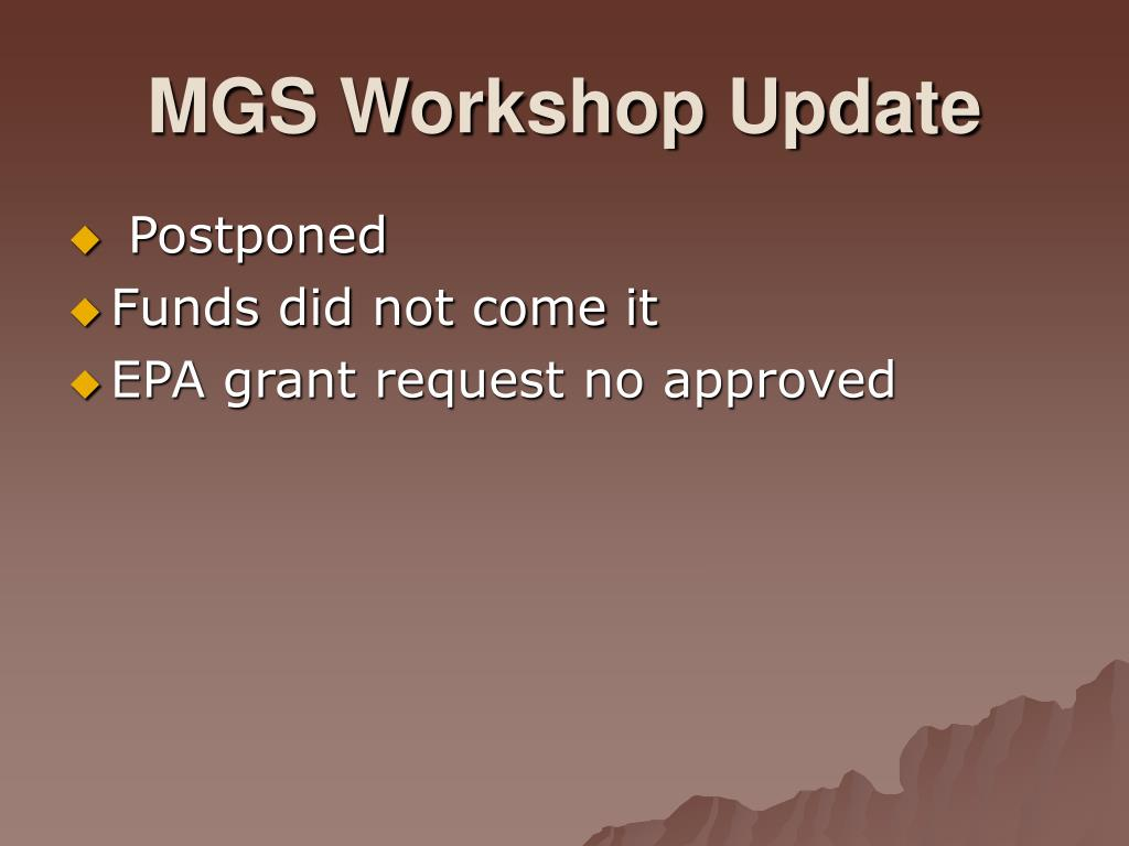 MGS Workshop Update