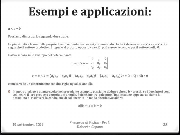Esempi e applicazioni: