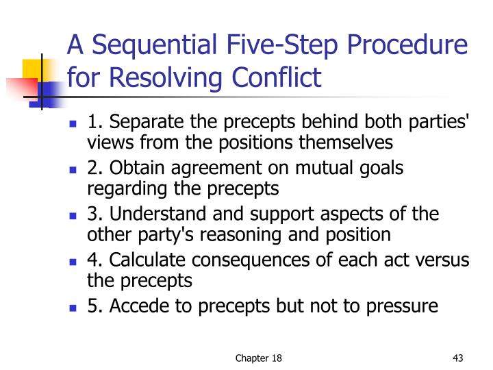 A Sequential Five-Step Procedure for Resolving Conflict