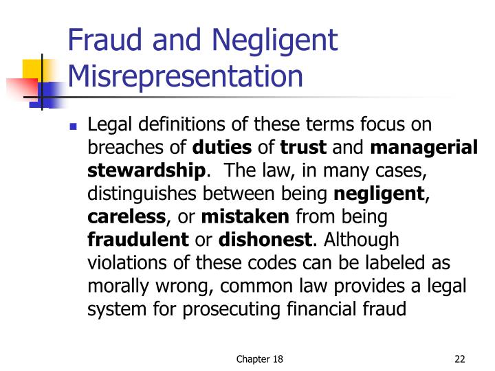 Fraud and Negligent Misrepresentation