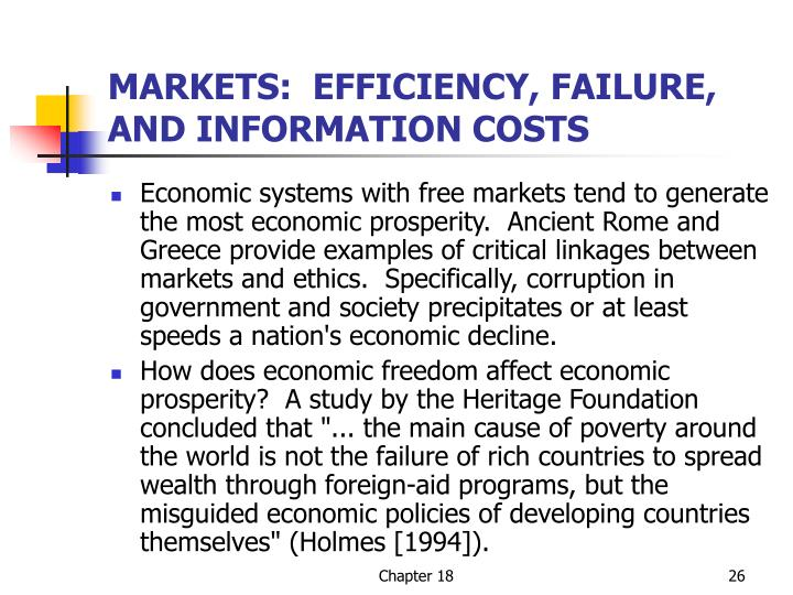 MARKETS:  EFFICIENCY, FAILURE, AND INFORMATION COSTS