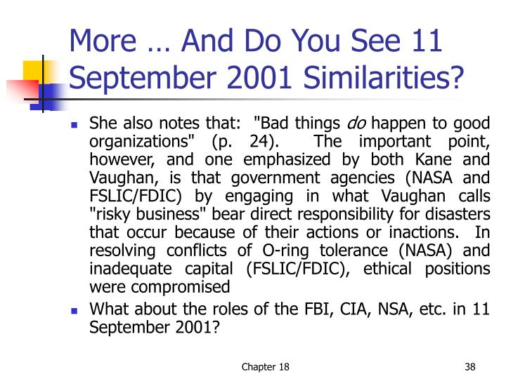 More … And Do You See 11 September 2001 Similarities?