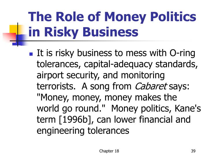 The Role of Money Politics in Risky Business