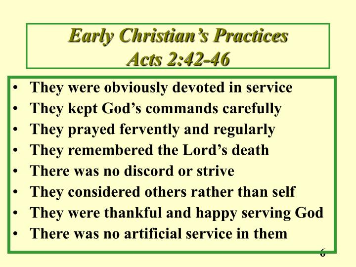 Early Christian's Practices