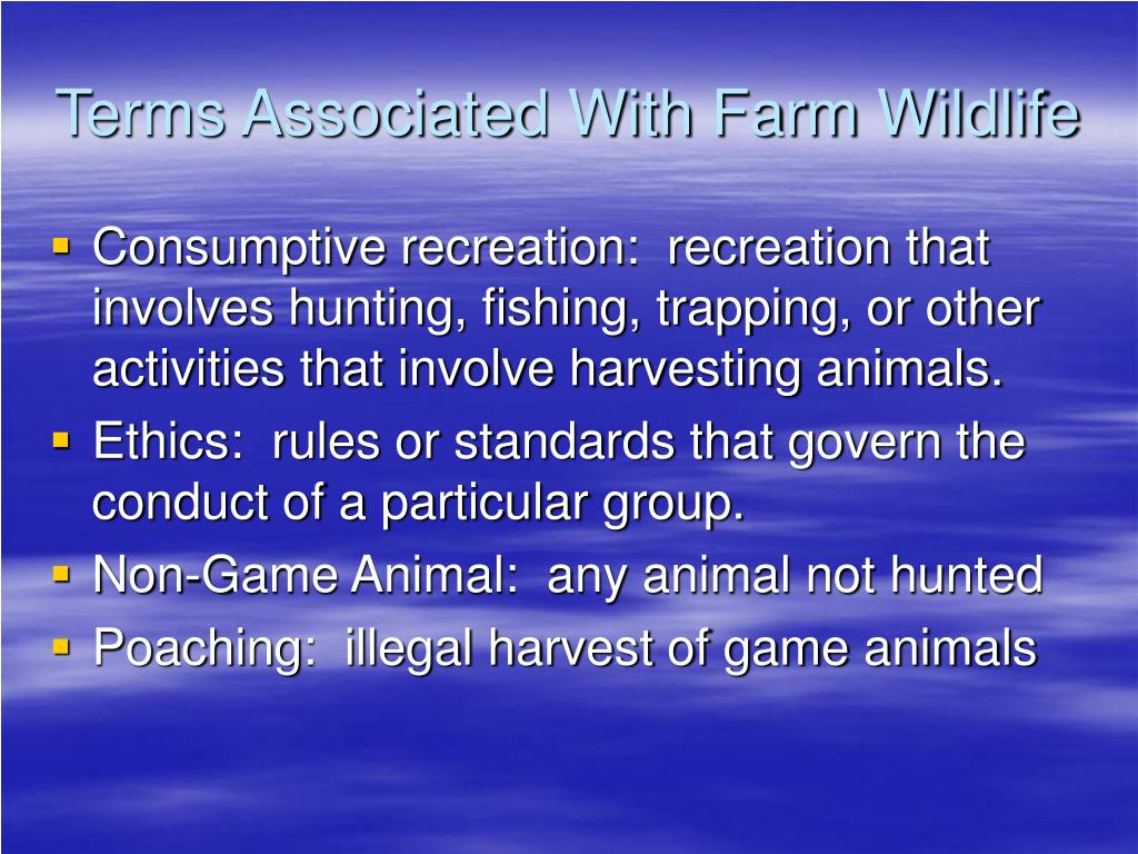 Terms Associated With Farm Wildlife