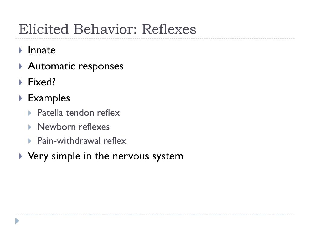 Elicited Behavior: Reflexes