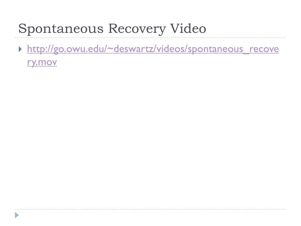 Spontaneous Recovery Video