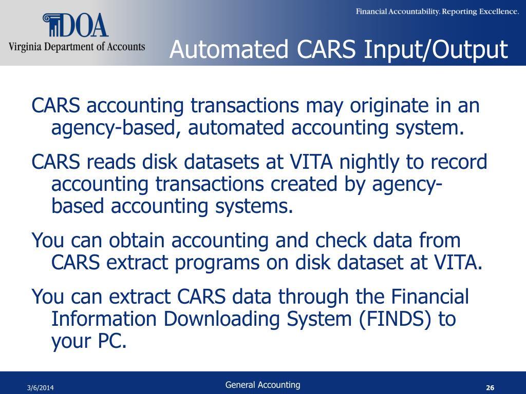 Automated CARS Input/Output