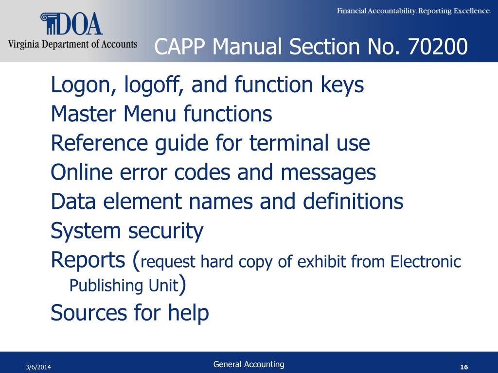 CAPP Manual Section No. 70200