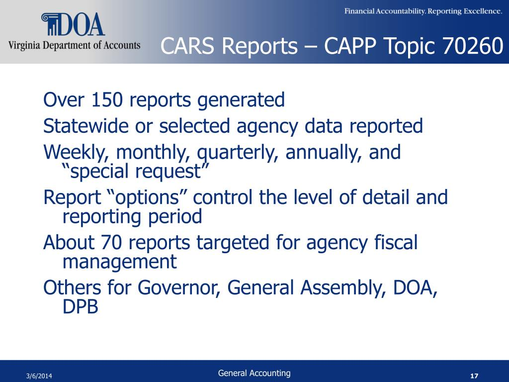 CARS Reports – CAPP Topic 70260