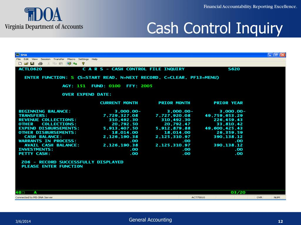 Cash Control Inquiry
