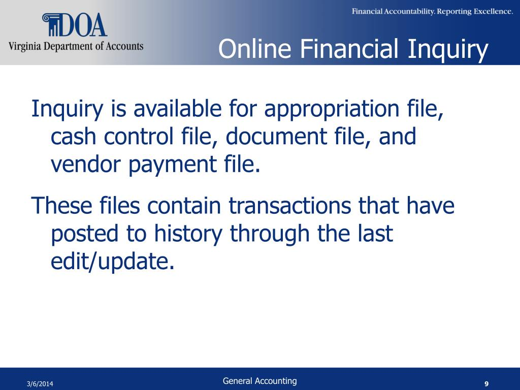 Online Financial Inquiry