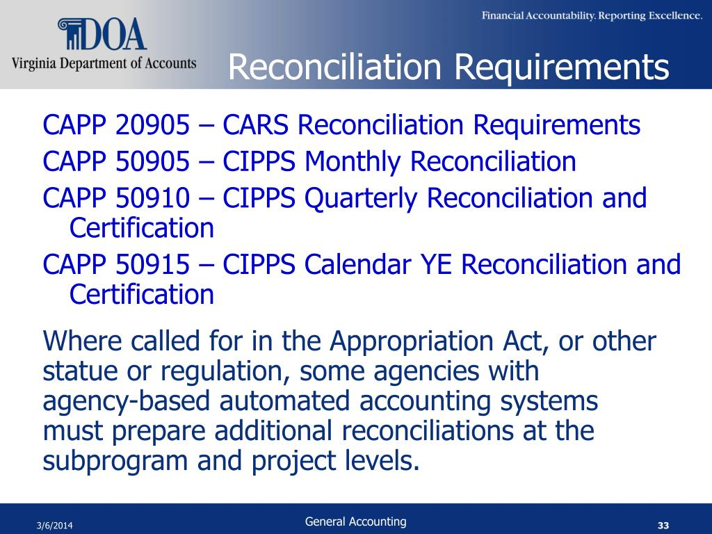 Reconciliation Requirements