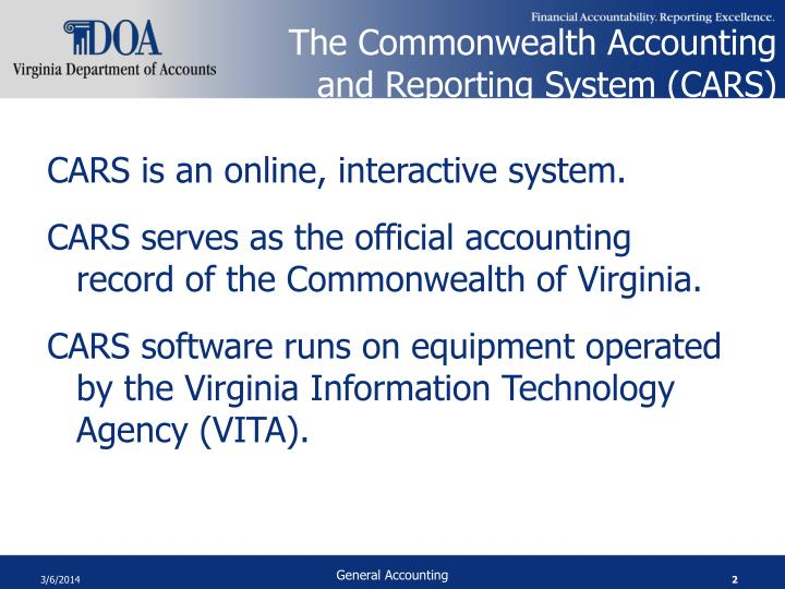 The commonwealth accounting and reporting system cars