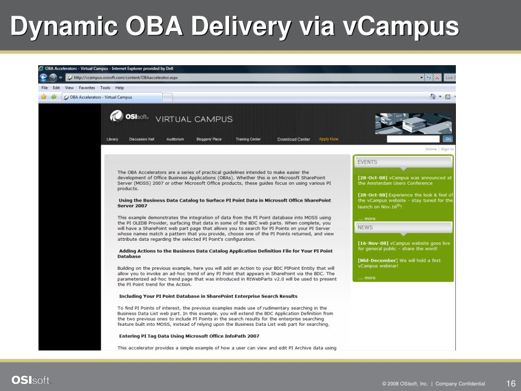 Dynamic OBA Delivery via vCampus