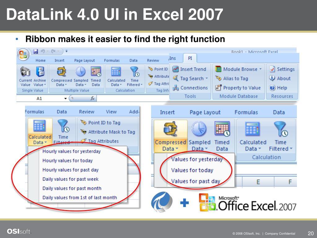 DataLink 4.0 UI in Excel 2007