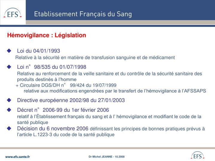 Hémovigilance : Législation