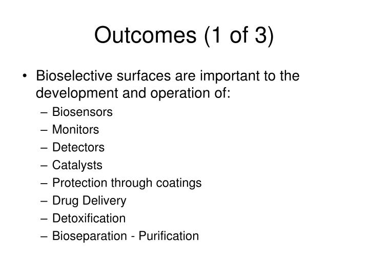 Outcomes (1 of 3)