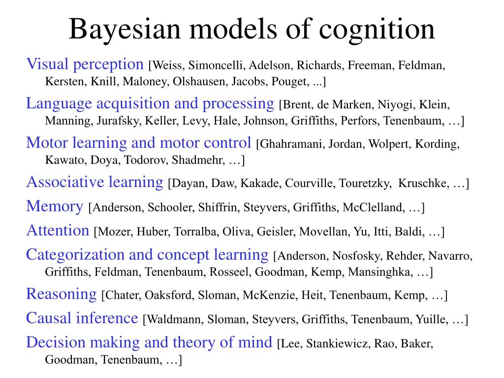 Bayesian models of cognition