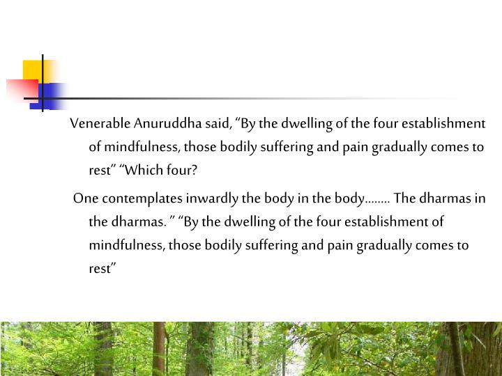 Venerable Anuruddha said, By the dwelling of the four establishment of mindfulness, those bodily suffering and pain gradually comes to rest Which four?